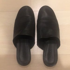 Vince black leather mules